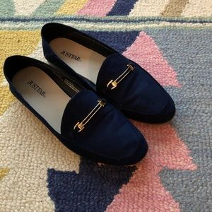 Navy & Gold Loafers women's 8.5